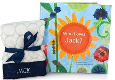 Who Loves Me and Personalized Lovie Blanket Set