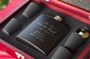 Custom Engraved Black Flask Gift Set