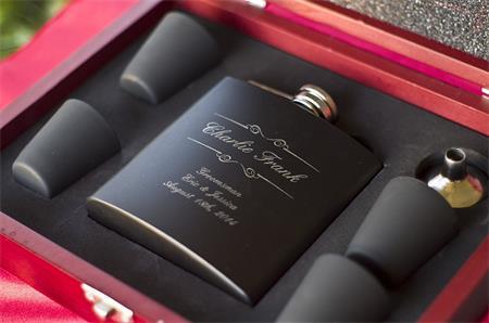 Custom Engraved Black Flask Gift Set 2