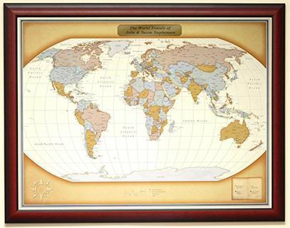 Personalized Push Pin World Travel Map