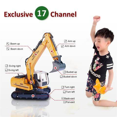 DoubleE RC Excavator Remote Control Tractor Toy Construction Vehicles