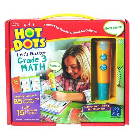 Educational Insights Hot Dots Let Master Grade 3 Math Set with Hot Dots Pen