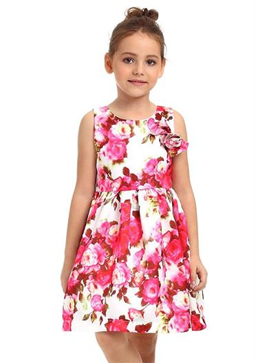 Ephex Toddler Girls Flower Princess Silky Dress