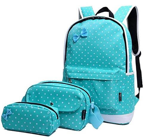 Moonwind Polka Dot 3pcs Kids Book Bag School Backpack