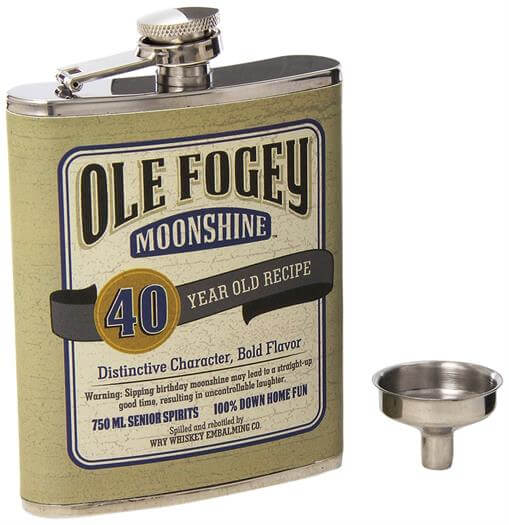 40th Birthday Ole Fogey Spirit Flask