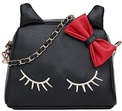 Cute PU Leather Cat Messenger Tote Shoulder Bag