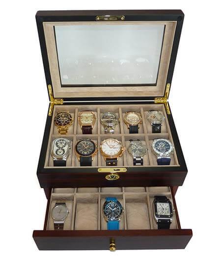 Ebony Walnut Wood Mens Watch Box