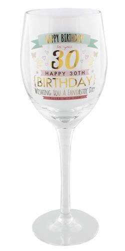 Gold and Pink Happy 30th Birthday Wine Glass