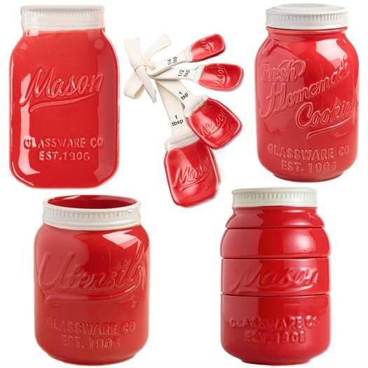 Mason Jar Ceramic Kitchenware Complete Set