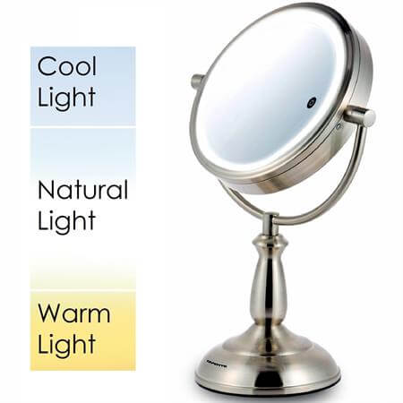 Ovente SmartTouch LED Lighted Magnifying Mirror