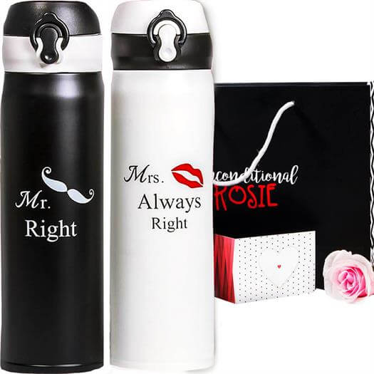 Set of Two Matching Stainless Steel Flasks