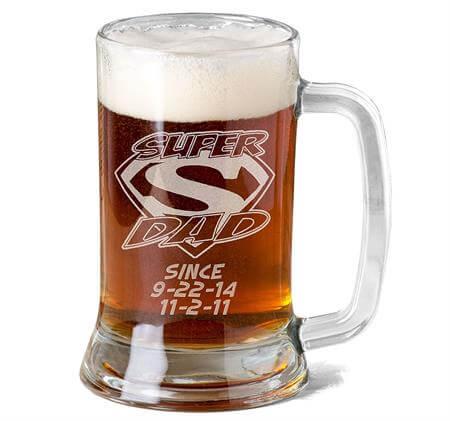 Super Dad Personalized Glass Beer Mug
