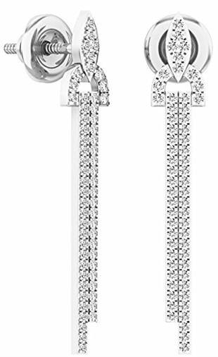 14K White Gold Round Cut White Diamond Dangling Earrings