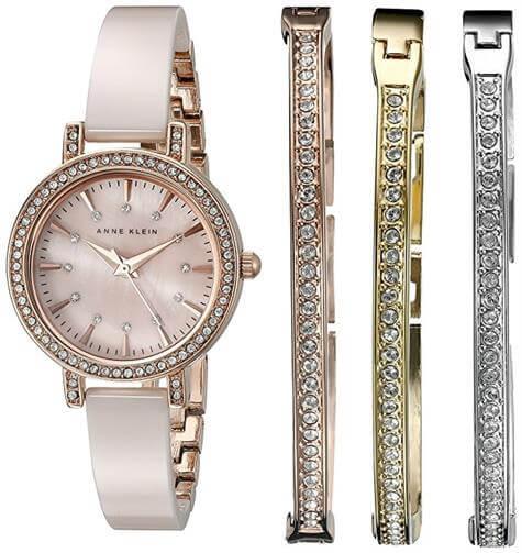 Anne Klein Swarovski Crystal Accented Watch and Bracelet Set