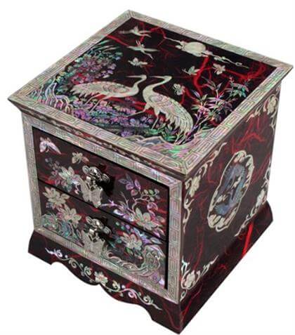 Asian Lacquer Women Wooden Jewelry Drawer Box