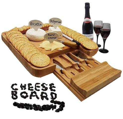 Bamboo Cheese Board and Knife Gift Set