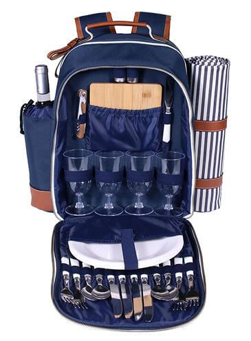Deluxe 4 Person Picnic Backpack Bag
