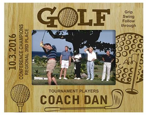 Engraved Wood Personalized Golf Golfer Theme Picture Frame