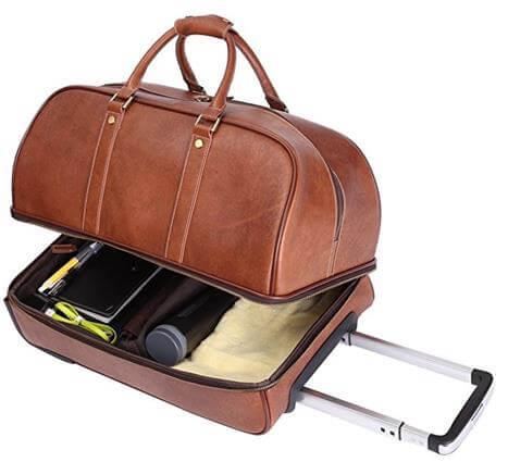 Leathario Mens 2 Way Travel Bag