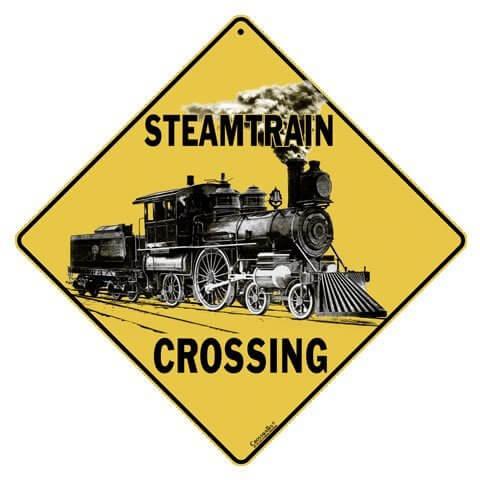 Steam Train Crossing Sign