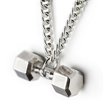 Sterling silver Seven sided Dumbbell Necklace Pendant Fitness Gym Jewelry Crossfit