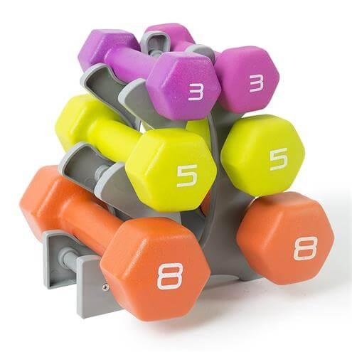 Tone Fitness Neoprene Dumbbell Set with Rack