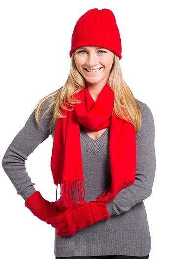 Ladies Cashmere Plain Knit Scarf and Gloves Set