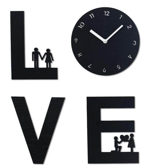 Love is Handcrafted Non Ticking Silent Wall Clock Black