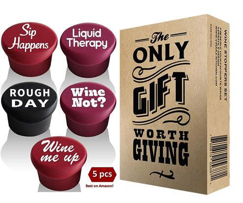 Set of 5 Funny Silicone Wine Reusable Caps Stoppers