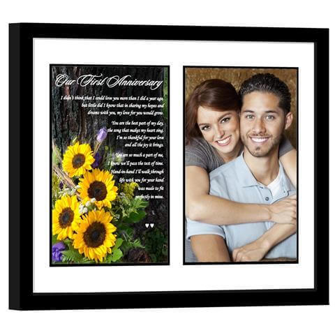 Sunflower Photo with Romantic 1st Anniversary Poem