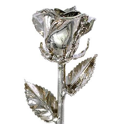 Living Gold Platinum Dipped Long Stem Geniune Venus Rose In Red Gift