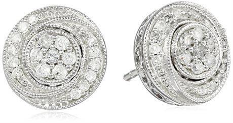 Sterling Silver Diamond Round Cluster Stud Earrings